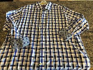 Robert-Graham-Long-Sleeve-Shirt-Blue-Black-Plaid-Flip-Cuff-3XL