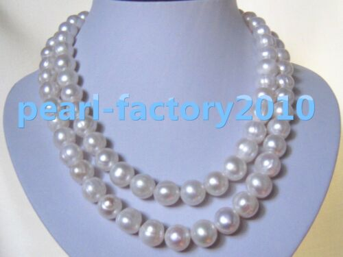 """new 35/"""" 13-12MM SOUTH SEA NATURAL White PEARL NECKLACE 14K GOLD  CLASP"""