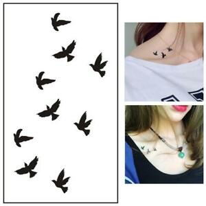 Temporaere-Tattoo-Aufkleber-Aquarell-fliegende-Voegel-Arm-Body-Art-Aufkleber-T1H4