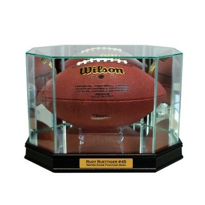 Official Website New Rudy Ruettiger Notre Dame Glass And Mirror Football Display Case Uv Complete Range Of Articles Autographs-original Display Cases