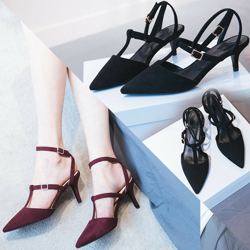 New femmes T-strap Kitten Heels Pointed Toe Pumps Ankle Strap Buckle Party chaussures