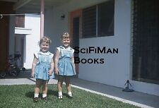 KODACHROME 35mm Slide Cute Little Girls Smiling Dresses Bicycle Tricycle 1960s?