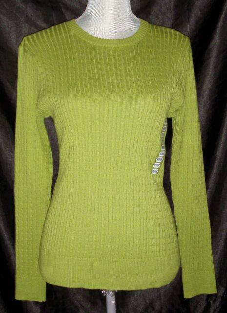 382a5919d Jean Pierre Cable Knit Sweater Size Medium Olive Green 100 Cotton ...