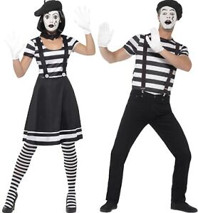 Image is loading Couples-Ladies-AND-Mens-French-Mime-Circus-Carnival-  sc 1 st  eBay & Couples Ladies AND Mens French Mime Circus Carnival Fancy Dress ...