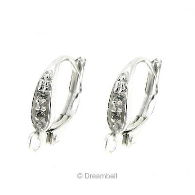 10 Sterling Silver 925 plain LeverBack lever Back Earring Ear Wire w// loop E05