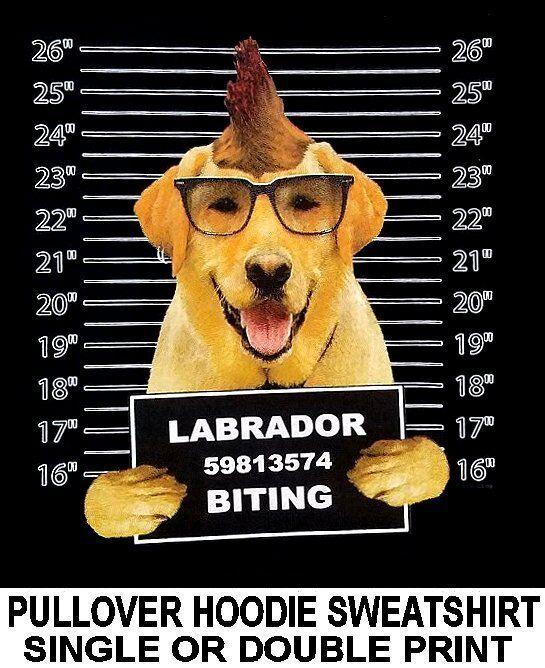 LABRADOR RETRIEVER MUG SHOT FUNNY NAUGHTY BAD DOG PULLOVER HOODIE SWEATSHIRT 779
