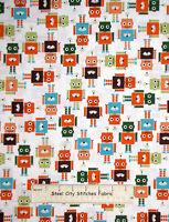 Robert Kaufman Runbots Robot Robotic Characters Kids 13961 Cotton Fabric Yard