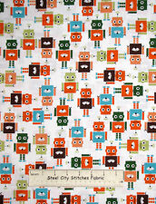 Robert Kaufman Runbots Robot Robotic Characters Kids #13961 Cotton Fabric YARD