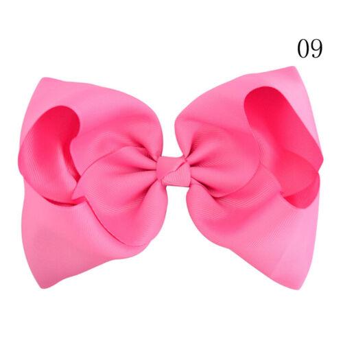 8 Inch Large Hair Bows Girls Grosgrain Ribbon Knot Clip Hair Accessories Gift RS
