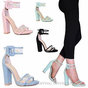 Scarpe-donna-Sandali-Tacco-12-Fibbia-Cinturino-Trasparente-Decollete-A74