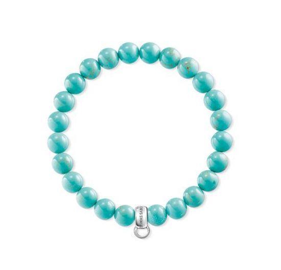Thomas Sabo CX0229M Charm Bracelet Turquoise Silver Size M 17CM RRP$89