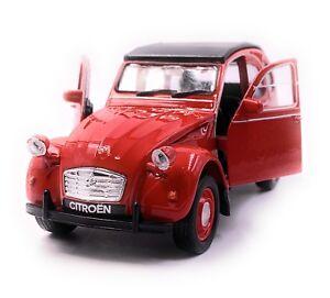 Citroen-2CV-Maquette-de-Voiture-Auto-en-Rouge-Echelle-1-3-4-Licence