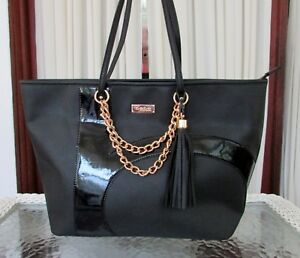 499ca4042d1 BEBE Barbie Zoom Logo Tote Bag Black Purse Shoulder NWT 646726959712 ...