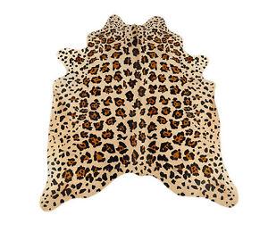 piel-de-Vaca-toro-Beige-braunmit-Animal-Imprimir-190-x-165cm-alfombra
