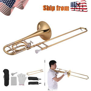 Details about Professional Trombone Brass Gold Lacquer Bb Tone B Flat w/  Carry Case US Stock