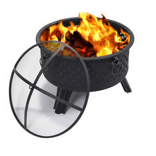 """26"""" Metal Round Firepit Patio Garden Stove Fire Pit Outdoor Brazier With Poker"""