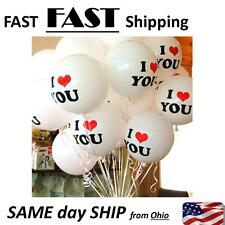20 PACK White I LOVE YOU Latex Balloons Birthday Party Wedding Anniversary Decor