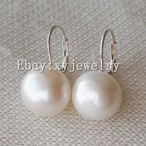 huge 14-15mm AAA flat white fresh water pearl 925 sterling silver lever back earrings Pearl Earring