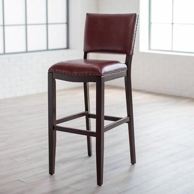 Amazing Red Leather Bar Stool With Back 34 Seat Height Nail Heads Espresso Wood Frame S Ebay Unemploymentrelief Wooden Chair Designs For Living Room Unemploymentrelieforg