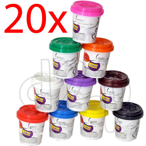 20 X DOUGH TUBS PLAY KIDS ART CRAFTS SHAPES GIFT TOY MODELLING SET CHILDRENS NEW