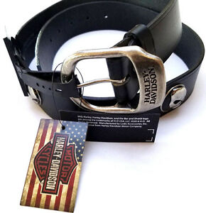 Harley-Davidson-Men-039-s-Black-Leather-Motorcycle-Harley-Belt-Willie-G-Skull