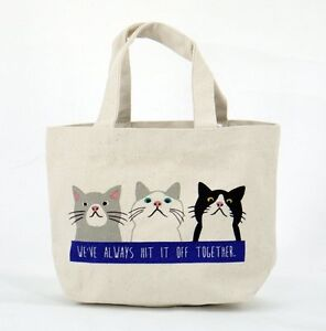 Details About Narumikk Taachan Cat Tote Bag With Inside Pocket Friends Blue White
