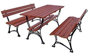 Gartenmobel 2 X Bank Tisch Sitzgarnitur Holz Gartentisch