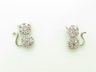 PLATINUM STERLING SILVER DIAMOND SET PINK SAPPHIRE KITTY CAT SCREW BACK EARRINGS
