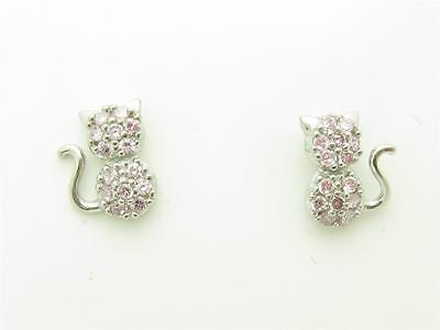 PLATINUM STERLING SILVER DIAMOND SET PINK SAPPHIRE KITTY CAT SCREW BACK EARRINGS