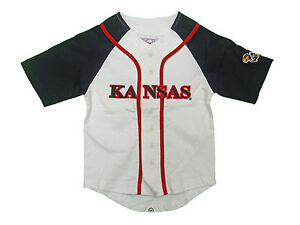 the best attitude 1cc51 20b87 Details about KANSAS JAYHAWKS KIDS TODDLERS WHITE & NAVY BLUE PIQUE  BASEBALL JERSEY NEW