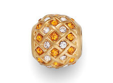 Stainless Steel Gold Weave Beads European Charms With Clear & Topaz Rhinestones