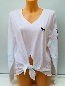 Knotted Size Secret Sleeve Bnwt Graphic In Pink White Victoria's Long Tee M 6OUgXw