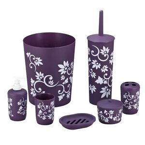 New Complete Printed Bathroom Set 7 Piese In Black Red Or