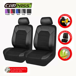 Universal-2-Front-Black-Car-Seat-Covers-Airbag-Compatible-Breathable-for-SUV-VAN