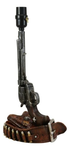 Six Shooter Revolver Gun with Holster /& Ammo Belt Base Bedside Table Lamp