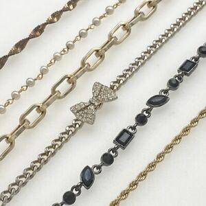 Vintage Bracelets Lot Gold Silver Tone Chains Rhinestones Pearls 6 Pcs