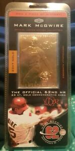 Details About 1998 Mark Mcgwire 23 Karat Gold Commorative Baseball Card Collectible