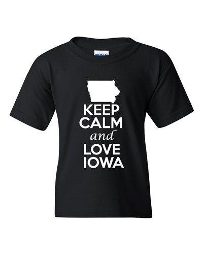 Keep Calm And Love Iowa State Novelty Statement Youth Kids T-Shirt Tee