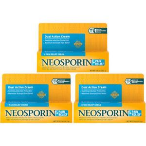 Details about 3 Pack Neosporin Maximum Strength Antibiotic + Pain Relief  Cream 0 5oz Each