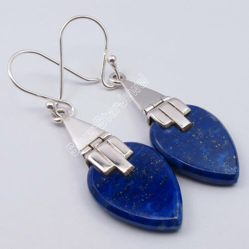 elija .925 plata esterlina sólida Azul Marino Lapislázuli Nuevos Estilos Aretes