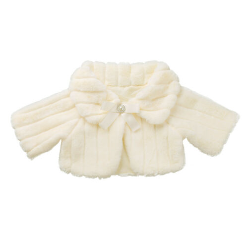 Kid Faux Fur Bolero Shrug Shawl Girls Wedding Bridesmaids Flower Dress Coat Cape