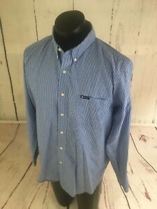 Chaps-Men-039-s-Size-Large-Shirt-Easy-Care-Long-Sleeve-Blue-Striped-Button-Down