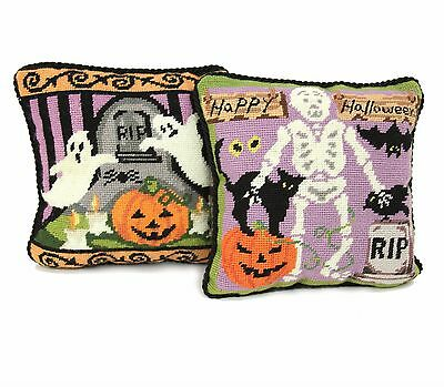 """Two Happy Halloween Needlepoint Accent Pillows Skeletons Ghosts Bats Pumpkins 9"""""""