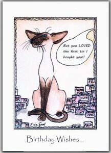 Image Is Loading Siamese Cat Art Birthday Card Large Comical From