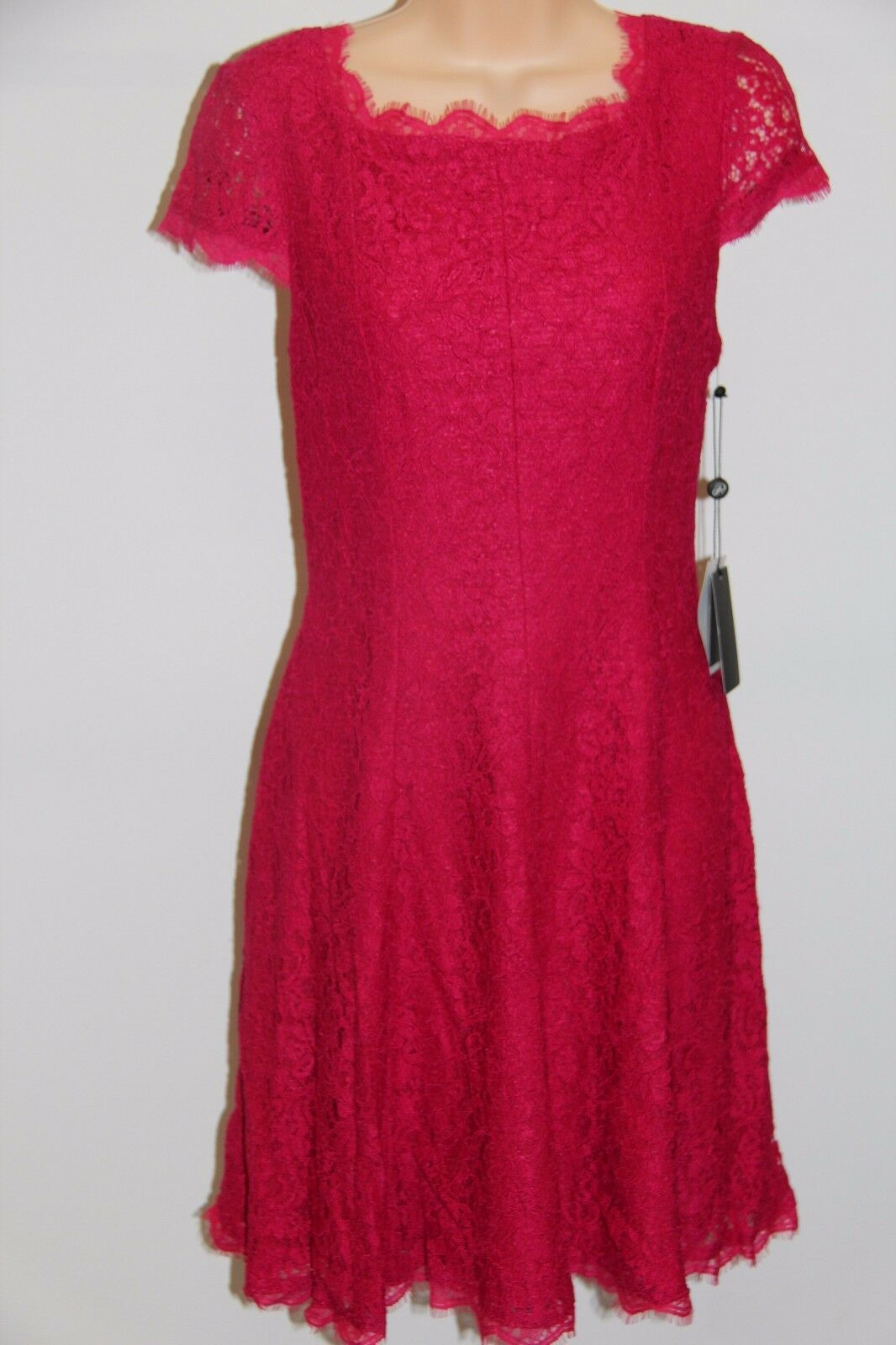 NWT Adrianna Papell Cap Sleeve Fit & Flare Dress Größe 10P Lip Lace