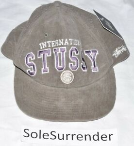 1cd98a0e887 Image is loading Stussy-College-Cord-Cap-NEW-131255-International-Olive-