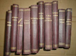 Lotto-di-10-libri-antichi-rilegati-Zola-Balzac-Hugo-Cavallotti-1890
