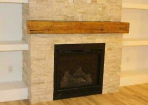 Canadian Made Reclaimed Rustic Barn Beam Wood Floating Fireplace Mantels - DIY Easy Installation Ontario Preview