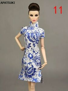 1-6-Blue-Handmade-Chinese-Traditional-Dress-For-1-6-Doll-Clothes-Cheongsam-Qipao