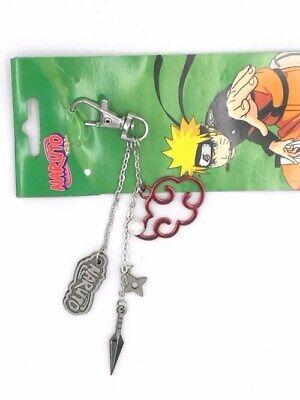NARUTO Akatsuki Red Cloud /& Shuriken Kunai Metal Keychain Keyring Anime Gift